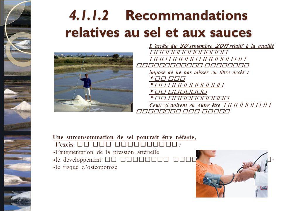 4.1.1.2Recommandations relatives au sel et aux sauces L arrêté du 30 septembre 2011 relatif à la qualité nutritionnelle des repas servis en restaurati