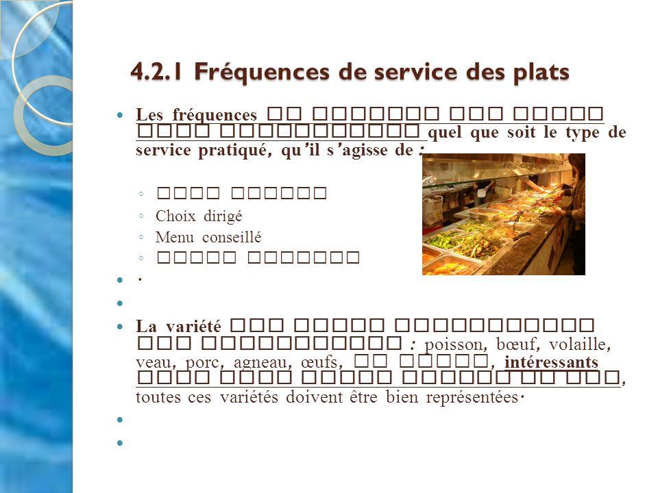4.2.1 Fréquences de service des plats 4.2.1 Fréquences de service des plats Les fréquences de service des plats sont applicables quel que soit le type