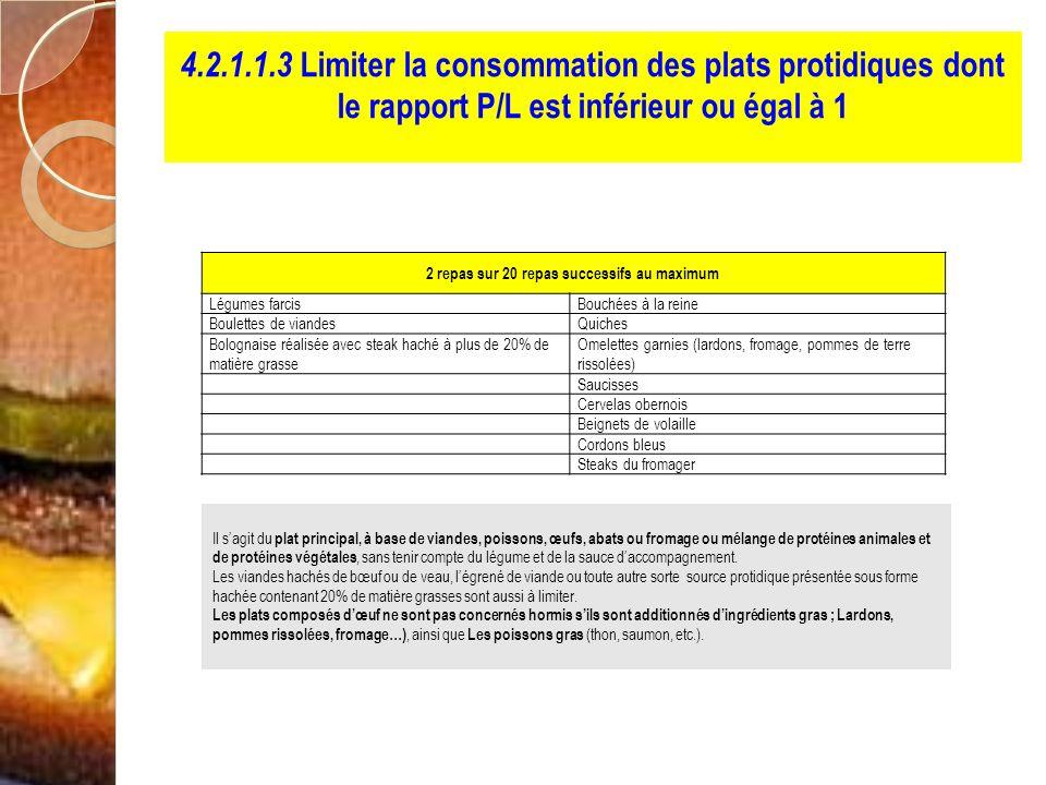 4.2.1.1.3 Limiter la consommation des plats protidiques dont le rapport P/L est inférieur ou égal à 1 2 repas sur 20 repas successifs au maximum Légum