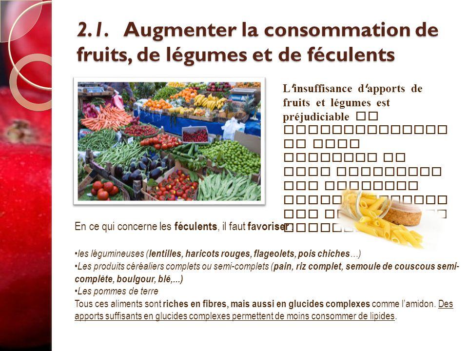 2.1. Augmenter la consommation de fruits, de légumes et de féculents 2.1. Augmenter la consommation de fruits, de légumes et de féculents L ' insuffis