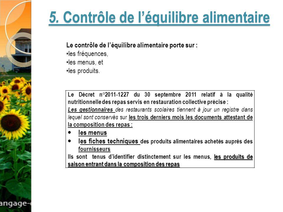 5. Contrôle de léquilibre alimentaire Le Décret n°2011-1227 du 30 septembre 2011 relatif à la qualité nutritionnelle des repas servis en restauration