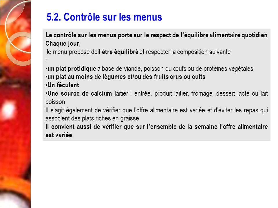5.2. Contrôle sur les menus Le contrôle sur les menus porte sur le respect de léquilibre alimentaire quotidien Chaque jour, le menu proposé doit être
