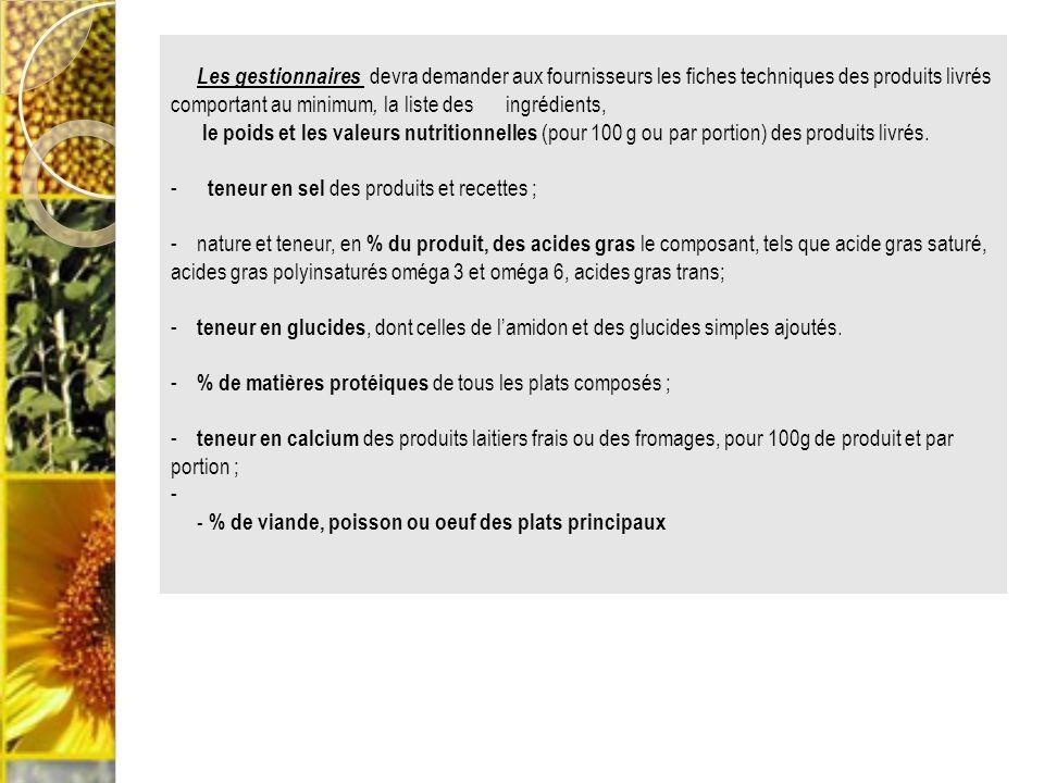 5.3. Contrôle sur les produits Les gestionnaires devra demander aux fournisseurs les fiches techniques des produits livrés comportant au minimum, la l