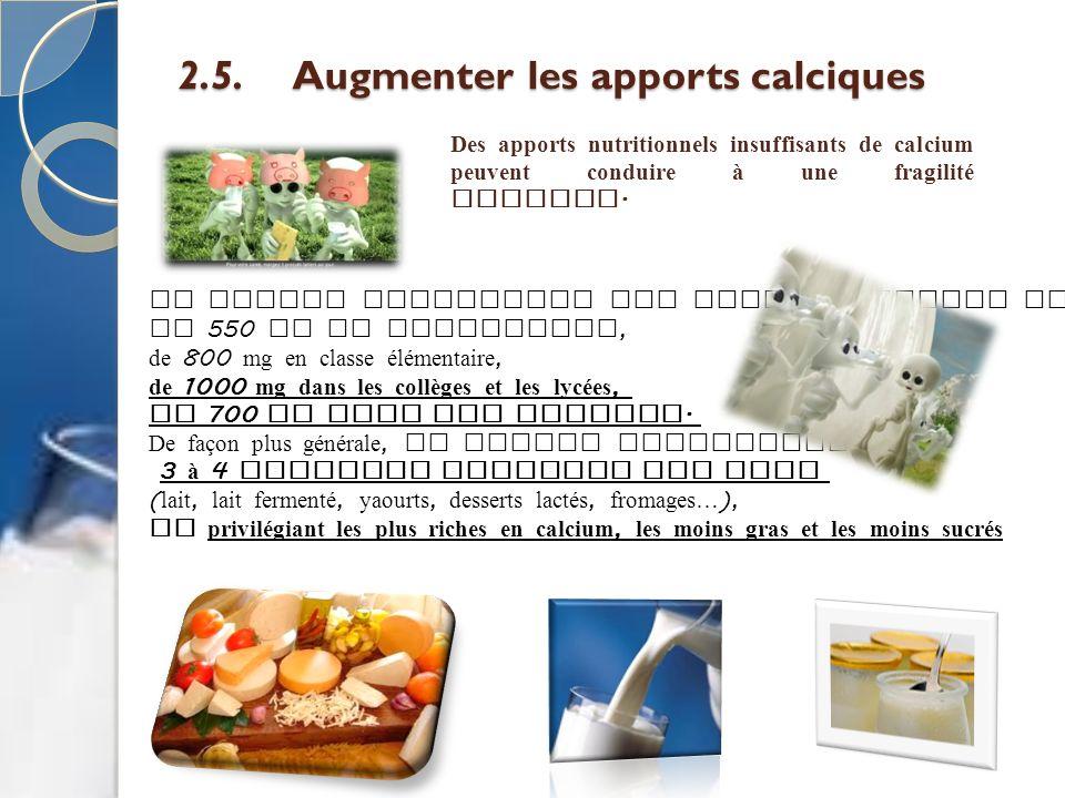 2.5. Augmenter les apports calciques Des apports nutritionnels insuffisants de calcium peuvent conduire à une fragilité osseuse. Le GEMRCN recommande