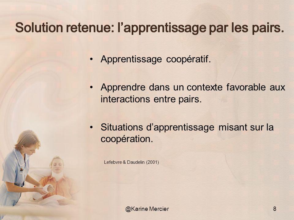 Apprentissage coopératif. Apprendre dans un contexte favorable aux interactions entre pairs. Situations dapprentissage misant sur la coopération. @Kar