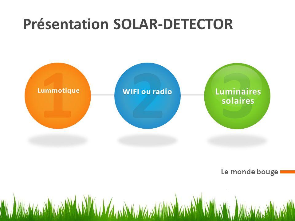 Présentation SOLAR-DETECTOR Le monde bouge 1Lummotique 2 WIFI ou radio 3 Luminaires solaires