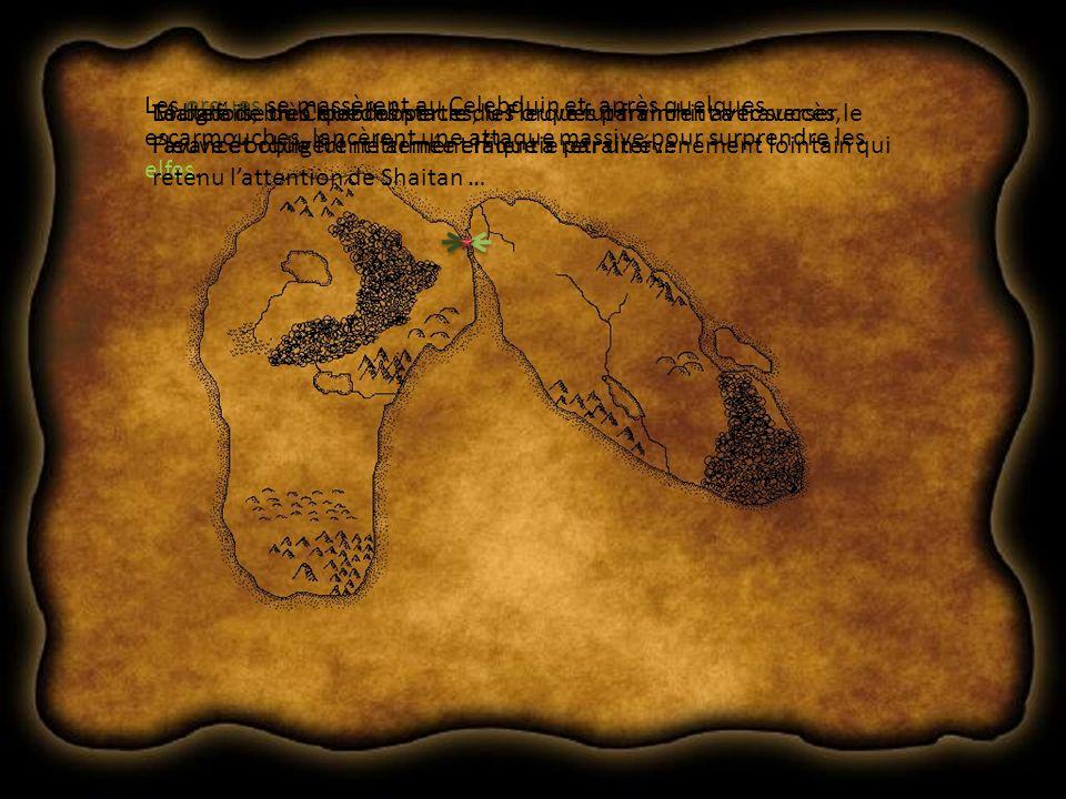La bataille du Celebduin Les orques se massèrent au Celebduin et, après quelques escarmouches, lancèrent une attaque massive pour surprendre les elfes.