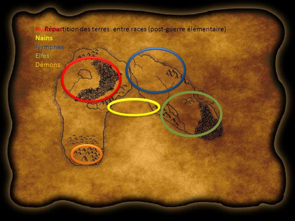 Répartition des terres entre races (post-guerre élémentaire)Humains Nains Nymphes Elfes Démons