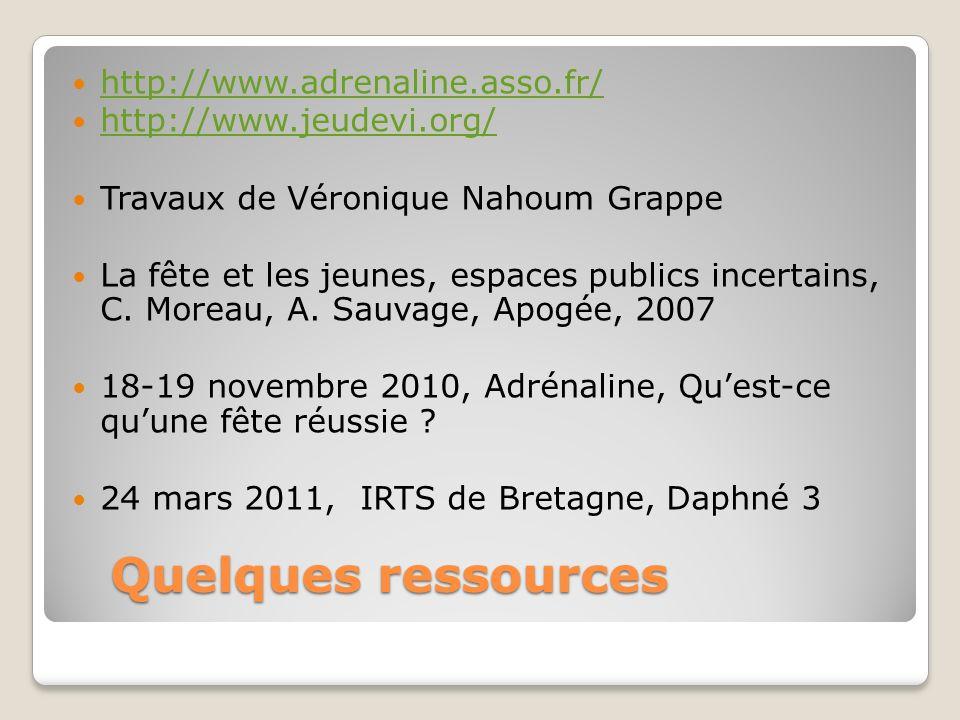 Quelques ressources http://www.adrenaline.asso.fr/ http://www.jeudevi.org/ Travaux de Véronique Nahoum Grappe La fête et les jeunes, espaces publics incertains, C.