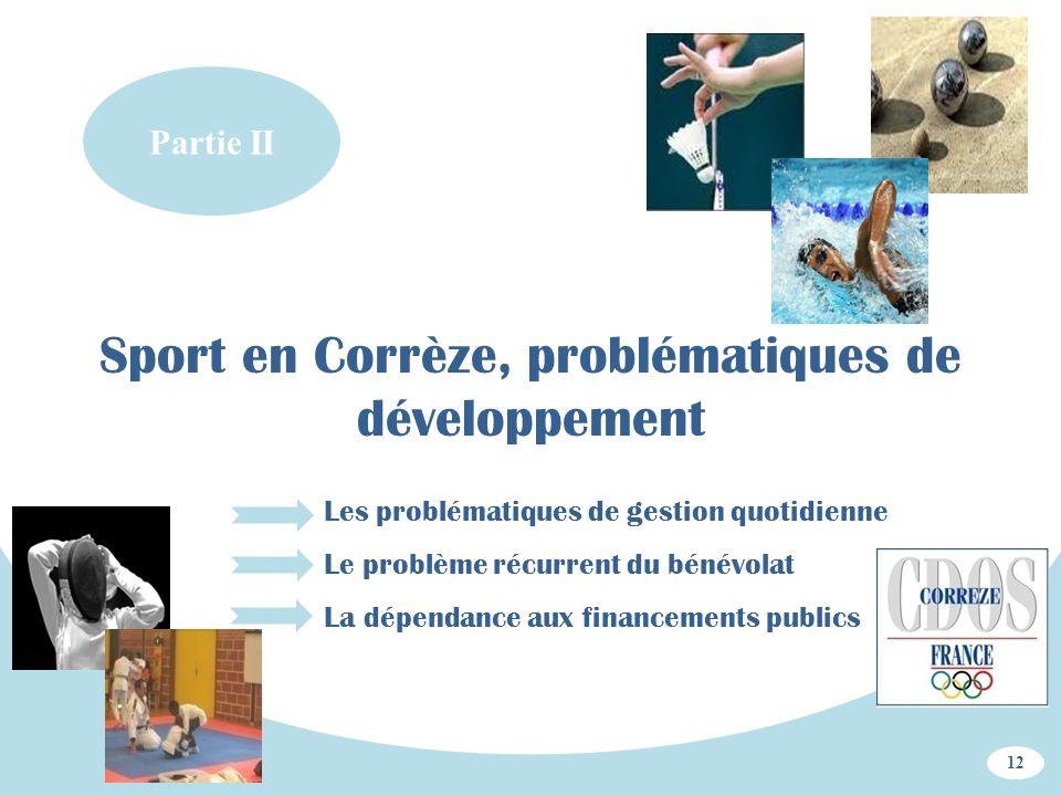 Partie II Sport en Corrèze, problématiques de développement 12 Les problématiques de gestion quotidienne Le problème récurrent du bénévolat La dépenda