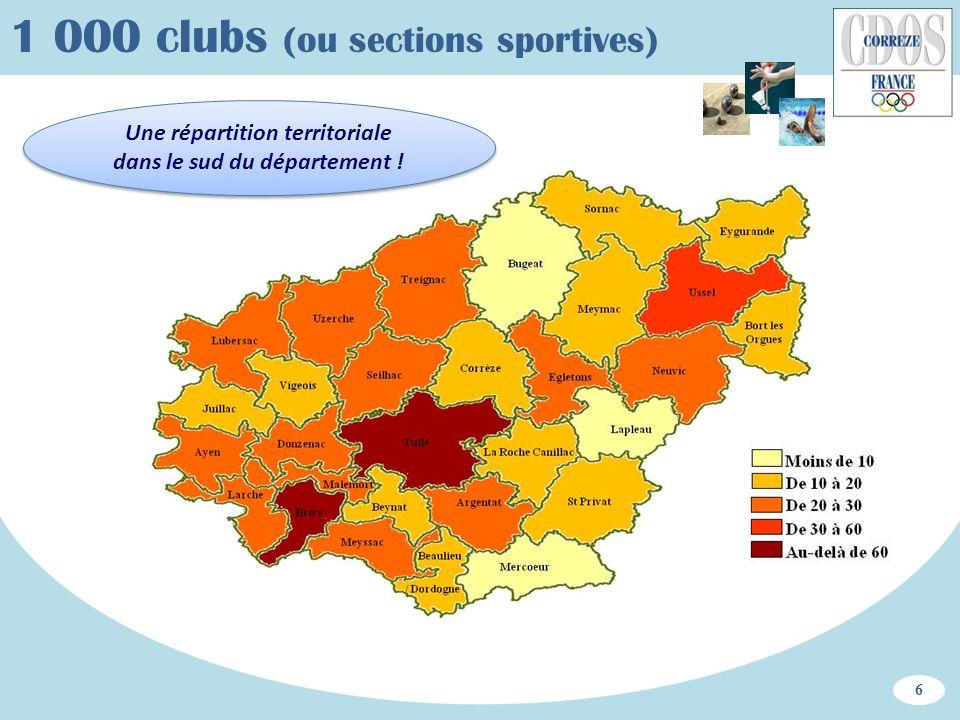 Une répartition territoriale dans le sud du département ! 1 000 clubs (ou sections sportives) 6