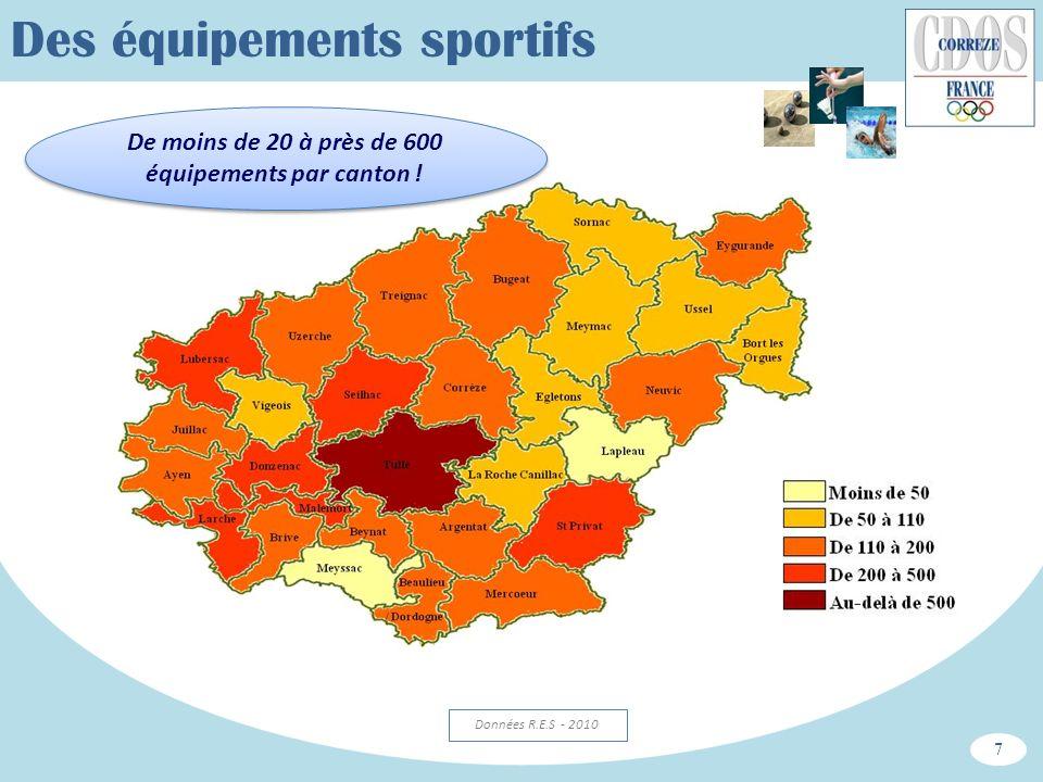 Des équipements sportifs De moins de 20 à près de 600 équipements par canton ! 7 Données R.E.S - 2010