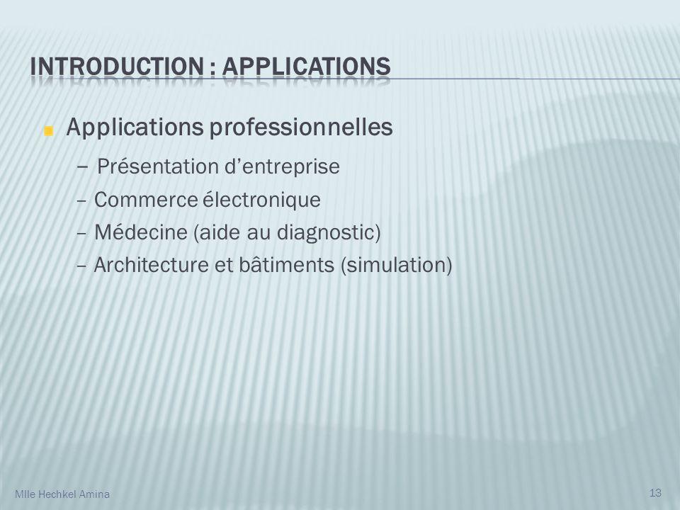 Applications professionnelles – Présentation dentreprise – Commerce électronique – Médecine (aide au diagnostic) – Architecture et bâtiments (simulati