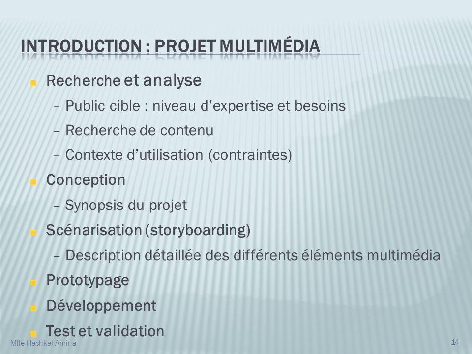 Recherche et analyse – Public cible : niveau dexpertise et besoins – Recherche de contenu – Contexte dutilisation (contraintes) Conception – Synopsis