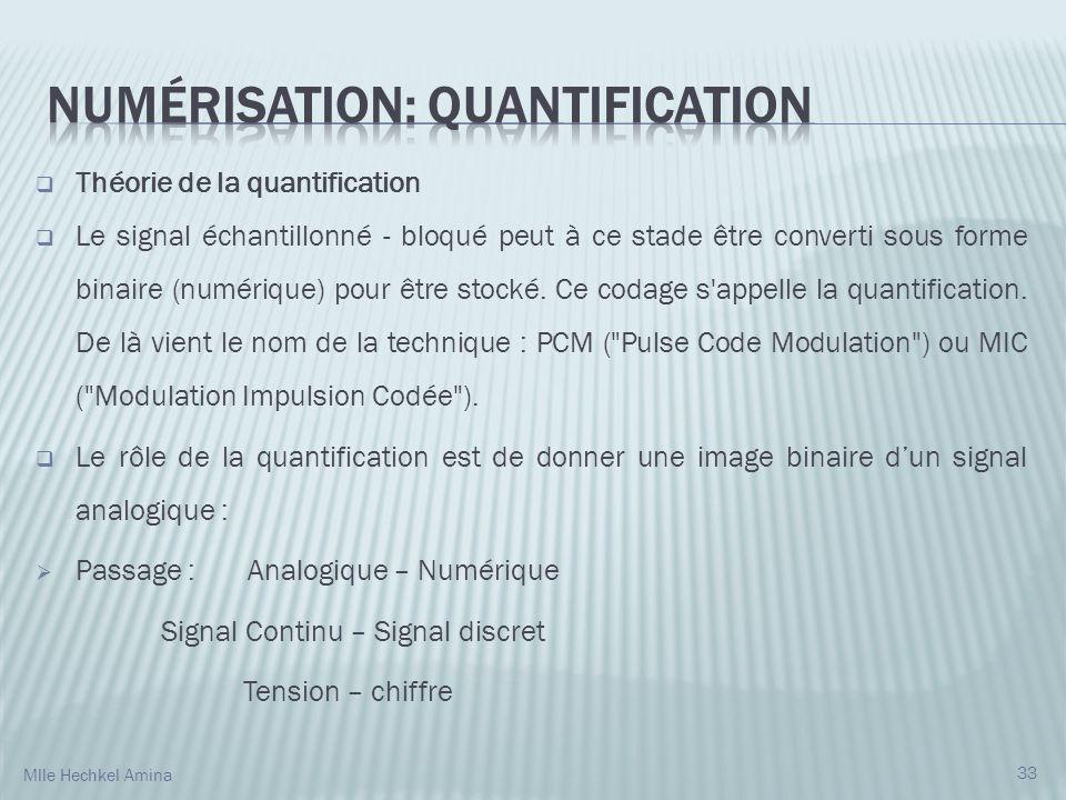 Théorie de la quantification Le signal échantillonné - bloqué peut à ce stade être converti sous forme binaire (numérique) pour être stocké.