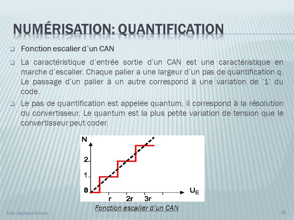 Fonction escalier dun CAN La caractéristique dentrée sortie dun CAN est une caractéristique en marche descalier.