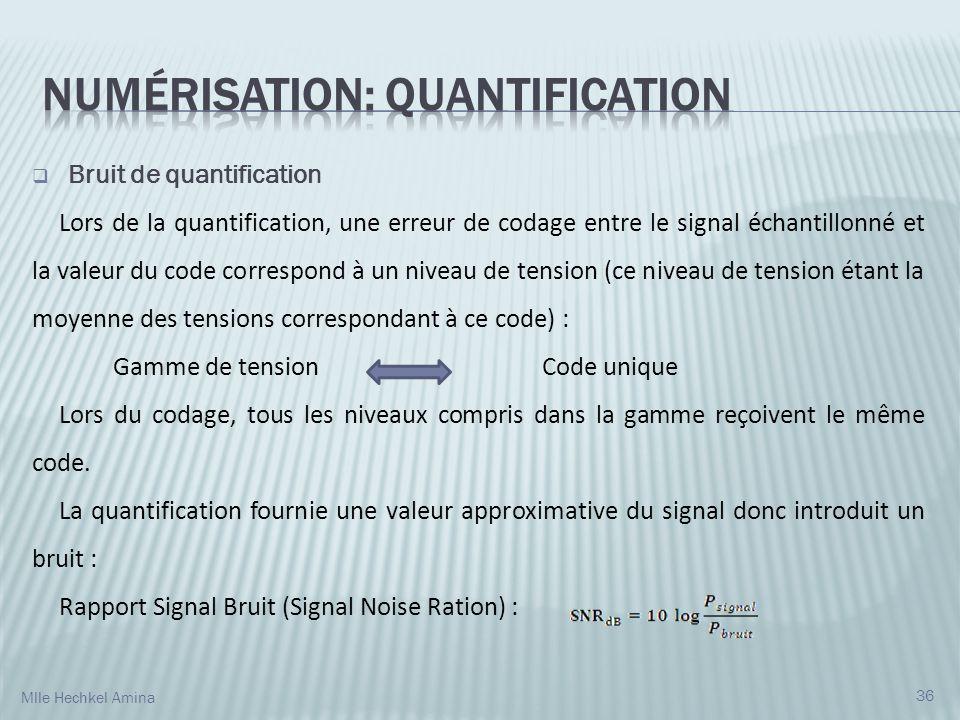 Bruit de quantification Lors de la quantification, une erreur de codage entre le signal échantillonné et la valeur du code correspond à un niveau de t