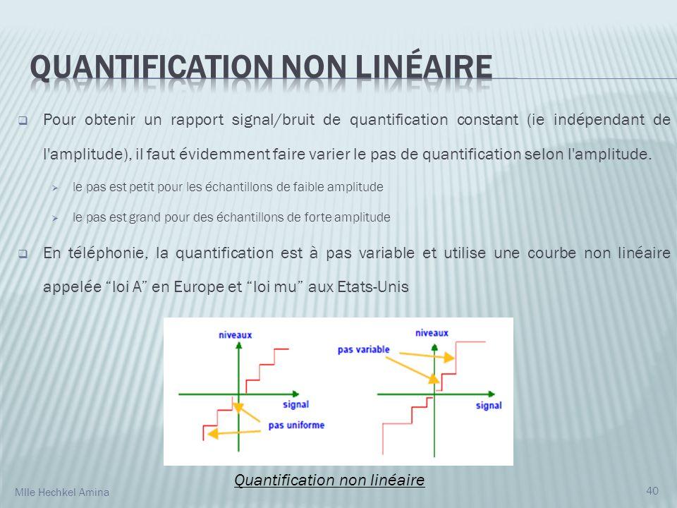 Pour obtenir un rapport signal/bruit de quantification constant (ie indépendant de l amplitude), il faut évidemment faire varier le pas de quantification selon l amplitude.
