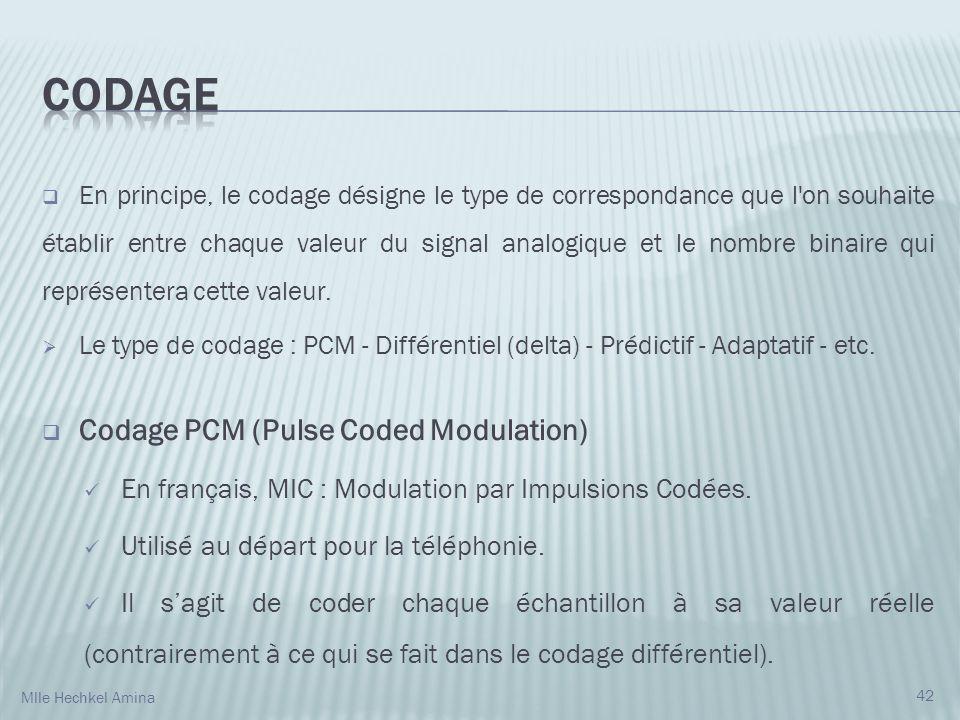 En principe, le codage désigne le type de correspondance que l'on souhaite établir entre chaque valeur du signal analogique et le nombre binaire qui r