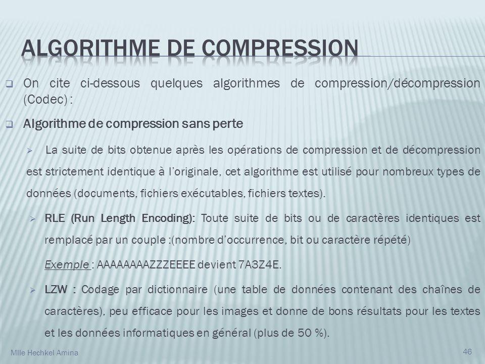 On cite ci-dessous quelques algorithmes de compression/décompression (Codec) : Algorithme de compression sans perte La suite de bits obtenue après les opérations de compression et de décompression est strictement identique à loriginale, cet algorithme est utilisé pour nombreux types de données (documents, fichiers exécutables, fichiers textes).