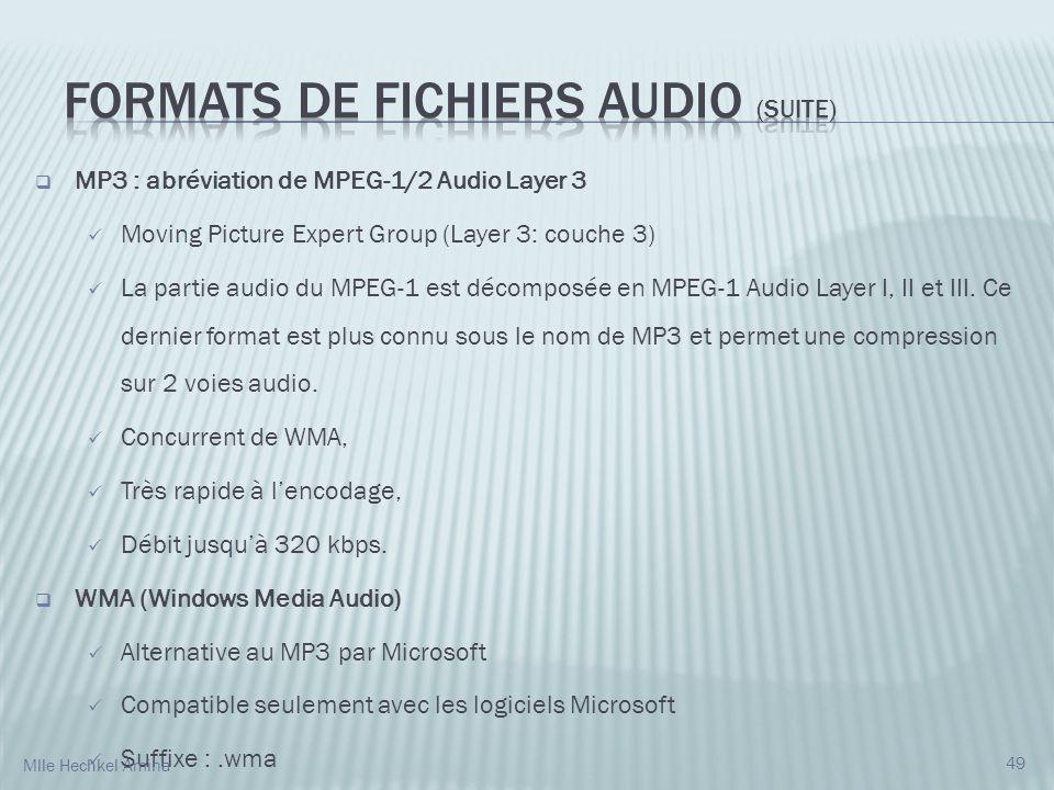 MP3 : abréviation de MPEG-1/2 Audio Layer 3 Moving Picture Expert Group (Layer 3: couche 3) La partie audio du MPEG-1 est décomposée en MPEG-1 Audio Layer I, II et III.