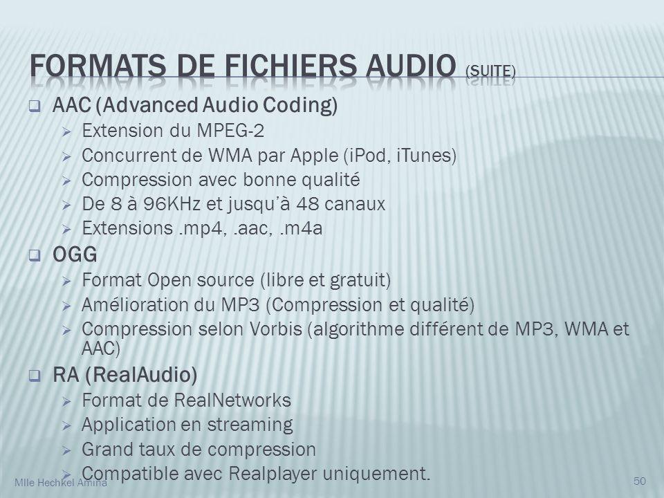 AAC (Advanced Audio Coding) Extension du MPEG-2 Concurrent de WMA par Apple (iPod, iTunes) Compression avec bonne qualité De 8 à 96KHz et jusquà 48 canaux Extensions.mp4,.aac,.m4a OGG Format Open source (libre et gratuit) Amélioration du MP3 (Compression et qualité) Compression selon Vorbis (algorithme différent de MP3, WMA et AAC) RA (RealAudio) Format de RealNetworks Application en streaming Grand taux de compression Compatible avec Realplayer uniquement.