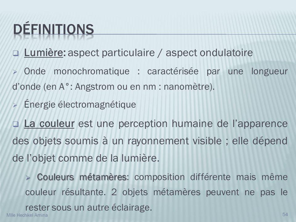 Lumière: aspect particulaire / aspect ondulatoire Onde monochromatique : caractérisée par une longueur donde (en A°: Angstrom ou en nm : nanomètre).