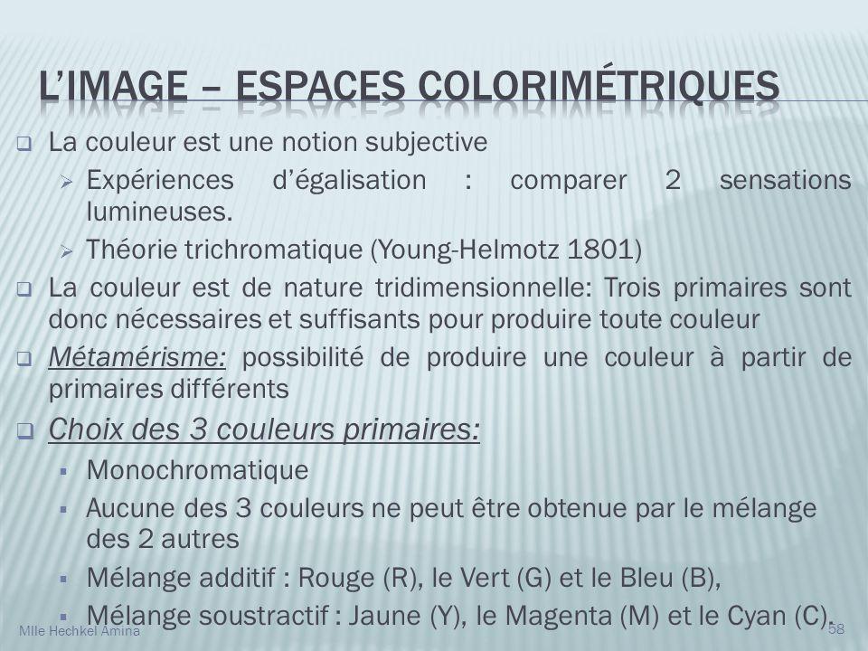 La couleur est une notion subjective Expériences dégalisation : comparer 2 sensations lumineuses. Théorie trichromatique (Young-Helmotz 1801) La coule