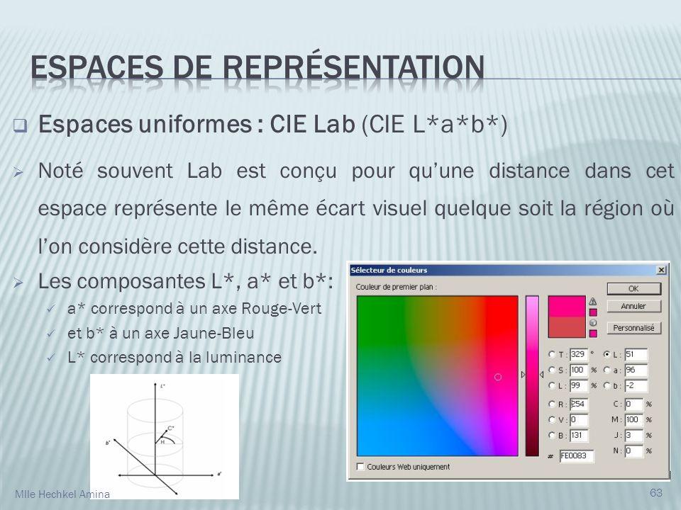 Espaces uniformes : CIE Lab (CIE L*a*b*) Noté souvent Lab est conçu pour quune distance dans cet espace représente le même écart visuel quelque soit la région où lon considère cette distance.