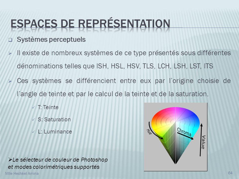 Systèmes perceptuels Il existe de nombreux systèmes de ce type présentés sous différentes dénominations telles que ISH, HSL, HSV, TLS, LCH, LSH, LST, ITS Ces systèmes se différencient entre eux par lorigine choisie de langle de teinte et par le calcul de la teinte et de la saturation.