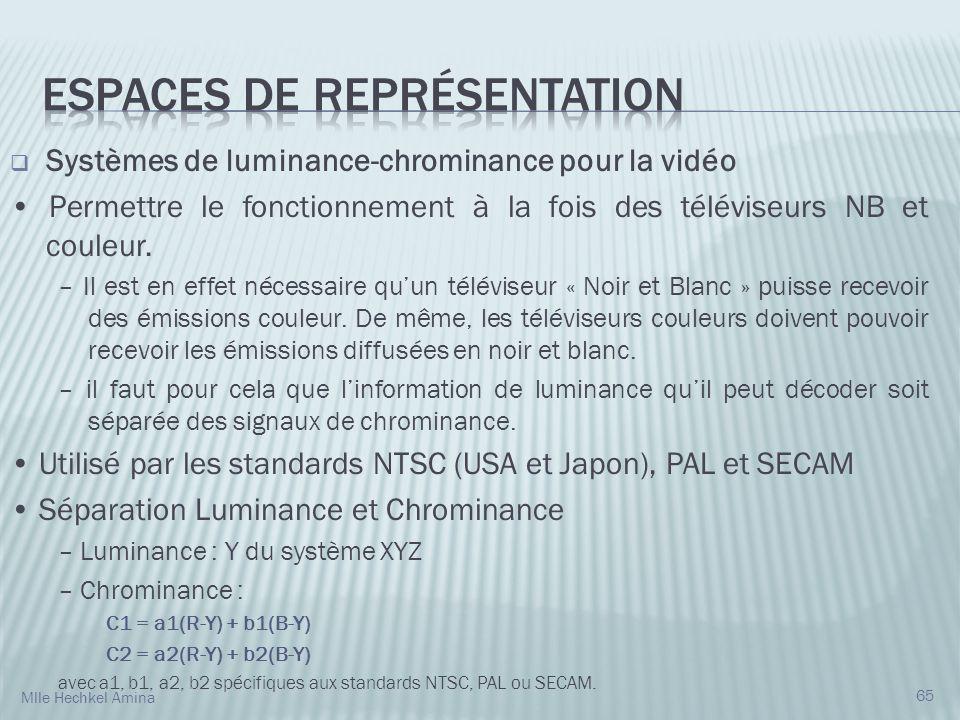 Systèmes de luminance-chrominance pour la vidéo Permettre le fonctionnement à la fois des téléviseurs NB et couleur. – Il est en effet nécessaire quun