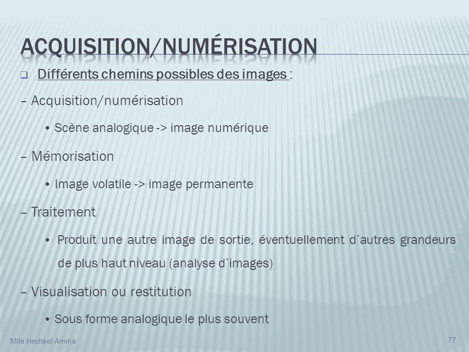 Différents chemins possibles des images : – Acquisition/numérisation Scène analogique -> image numérique – Mémorisation Image volatile -> image perman