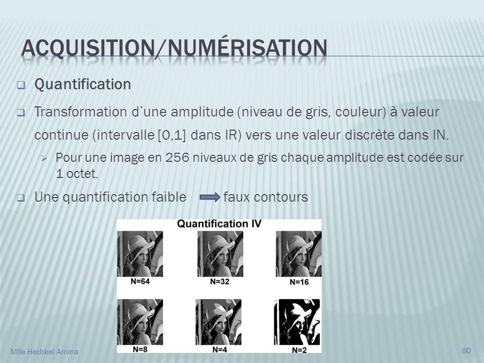 Quantification Transformation dune amplitude (niveau de gris, couleur) à valeur continue (intervalle [0,1] dans IR) vers une valeur discrète dans IN.