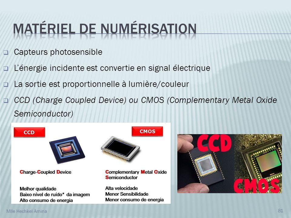 81 Capteurs photosensible Lénergie incidente est convertie en signal électrique La sortie est proportionnelle à lumière/couleur CCD (Charge Coupled Device) ou CMOS (Complementary Metal Oxide Semiconductor) Mlle Hechkel Amina