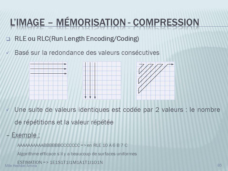 RLE ou RLC(Run Length Encoding/Coding) Basé sur la redondance des valeurs consécutives Une suite de valeurs identiques est codée par 2 valeurs : le nombre de répétitions et la valeur répétée – Exemple : AAAAAAAAAABBBBBBCCCCCCC => en RLE 10 A 6 B 7 C Algorithme efficace sil y a beaucoup de surfaces uniformes ESTIMATION => 1E1S1T1I1M1A1T1I1O1N 85 Mlle Hechkel Amina
