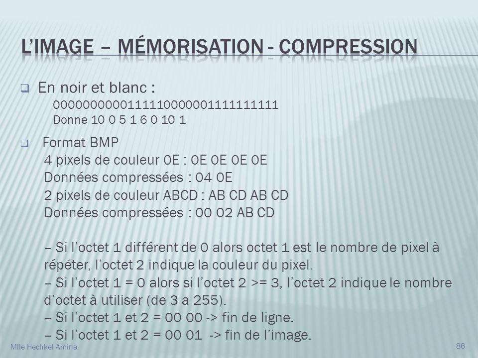 En noir et blanc : 0000000000111110000001111111111 Donne 10 0 5 1 6 0 10 1 Format BMP 4 pixels de couleur 0E : 0E 0E 0E 0E Données compressées : 04 0E 2 pixels de couleur ABCD : AB CD AB CD Données compressées : 00 02 AB CD – Si loctet 1 différent de 0 alors octet 1 est le nombre de pixel à répéter, loctet 2 indique la couleur du pixel.