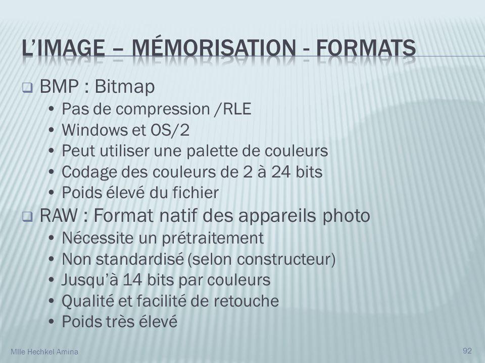 BMP : Bitmap Pas de compression /RLE Windows et OS/2 Peut utiliser une palette de couleurs Codage des couleurs de 2 à 24 bits Poids élevé du fichier RAW : Format natif des appareils photo Nécessite un prétraitement Non standardisé (selon constructeur) Jusquà 14 bits par couleurs Qualité et facilité de retouche Poids très élevé 92 Mlle Hechkel Amina
