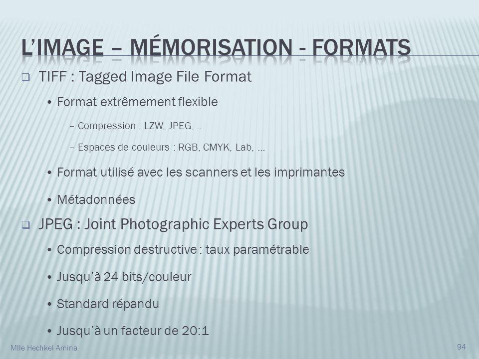 TIFF : Tagged Image File Format Format extrêmement flexible – Compression : LZW, JPEG,.. – Espaces de couleurs : RGB, CMYK, Lab, … Format utilisé avec