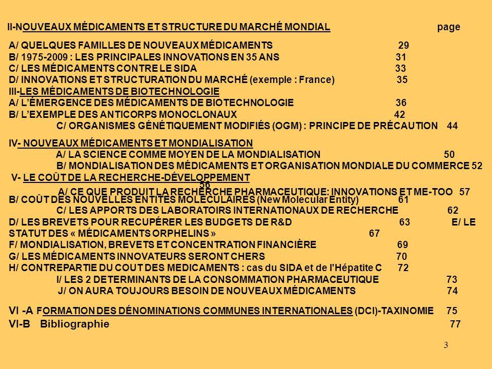 3 II-NOUVEAUX MÉDICAMENTS ET STRUCTURE DU MARCHÉ MONDIAL page A/ QUELQUES FAMILLES DE NOUVEAUX MÉDICAMENTS 29 B/ 1975-2009 : LES PRINCIPALES INNOVATIO
