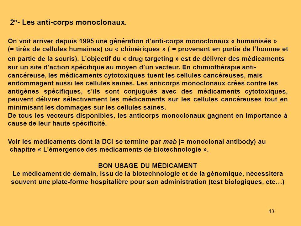 43 2°- Les anti-corps monoclonaux. On voit arriver depuis 1995 une génération danti-corps monoclonaux « humanisés » (= tirés de cellules humaines) ou