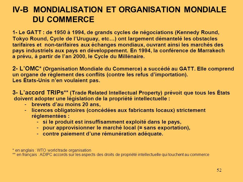 52 1- Le GATT : de 1950 à 1994, de grands cycles de négociations (Kennedy Round, Tokyo Round, Cycle de lUruguay, etc…) ont largement démantelé les obs