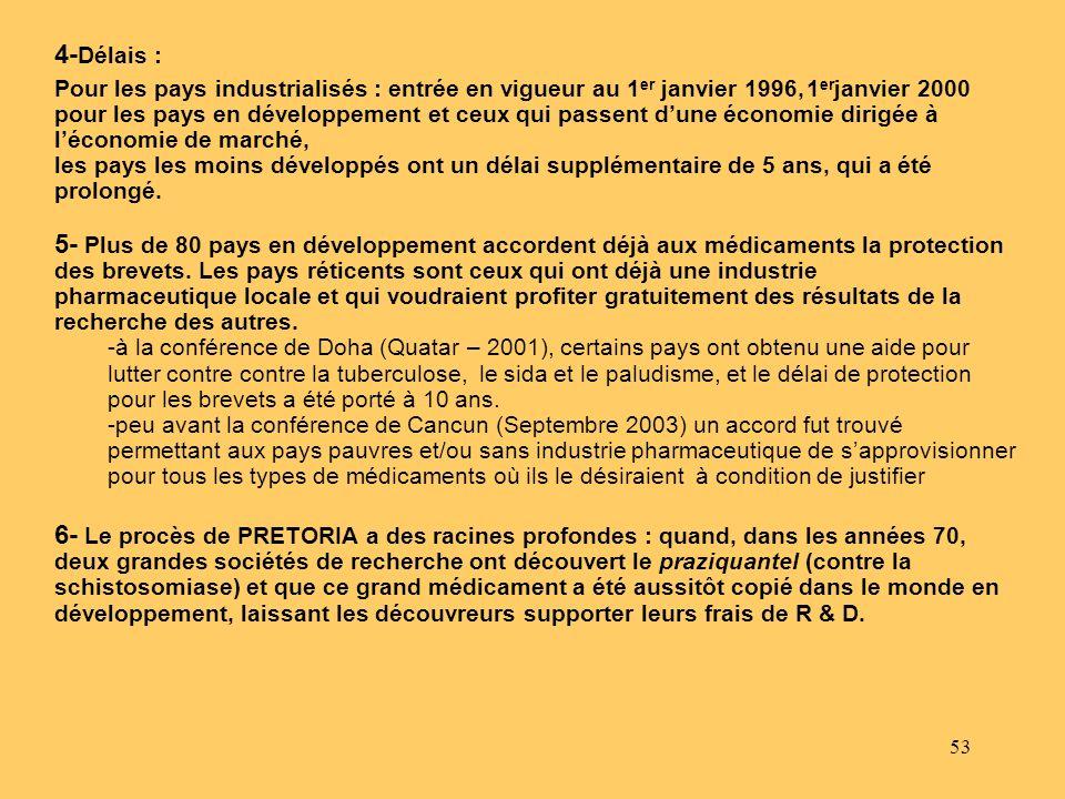 53 Pour les pays industrialisés : entrée en vigueur au 1 er janvier 1996, 1 er janvier 2000 pour les pays en développement et ceux qui passent dune éc
