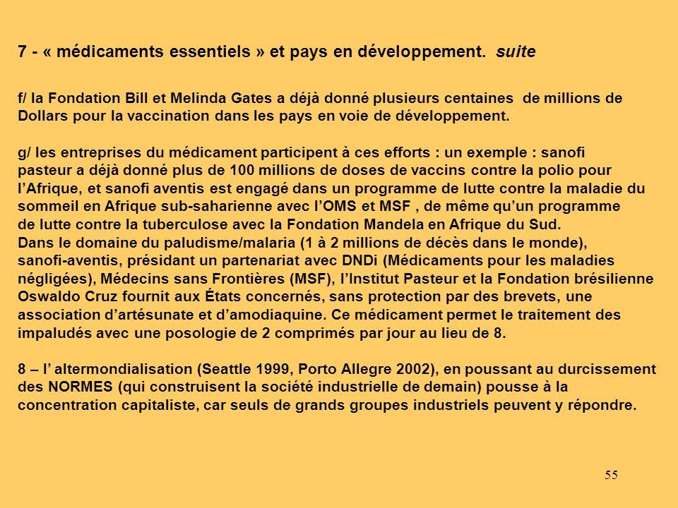 55 7 - « médicaments essentiels » et pays en développement. suite f/ la Fondation Bill et Melinda Gates a déjà donné plusieurs centaines de millions d