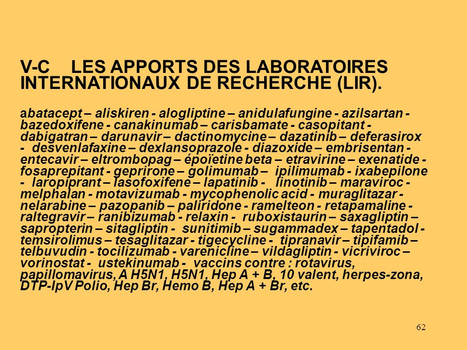 62 V-C LES APPORTS DES LABORATOIRES INTERNATIONAUX DE RECHERCHE (LIR). abatacept – aliskiren - alogliptine – anidulafungine - azilsartan - bazedoxifen
