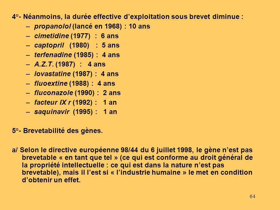 64 4°- Néanmoins, la durée effective dexploitation sous brevet diminue : –propanolol (lancé en 1968) : 10 ans –cimetidine (1977) : 6 ans –captopril (1