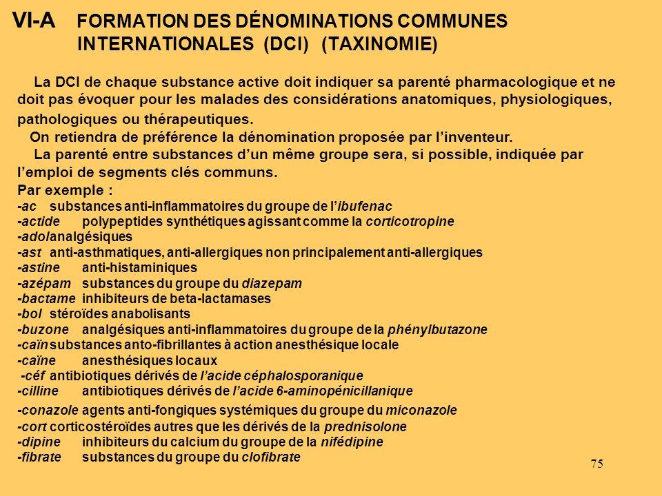 75 VI-A FORMATION DES DÉNOMINATIONS COMMUNES INTERNATIONALES (DCI) (TAXINOMIE) La DCI de chaque substance active doit indiquer sa parenté pharmacologi