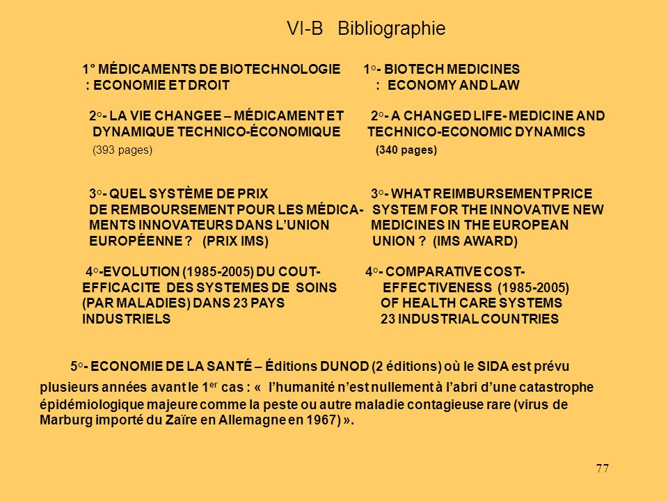 77 VI-B Bibliographie 1° MÉDICAMENTS DE BIOTECHNOLOGIE 1°- BIOTECH MEDICINES : ECONOMIE ET DROIT : ECONOMY AND LAW 2°- LA VIE CHANGEE – MÉDICAMENT ET 2°- A CHANGED LIFE- MEDICINE AND DYNAMIQUE TECHNICO-ÉCONOMIQUE TECHNICO-ECONOMIC DYNAMICS (393 pages) (340 pages) 3°- QUEL SYSTÈME DE PRIX 3°- WHAT REIMBURSEMENT PRICE DE REMBOURSEMENT POUR LES MÉDICA- SYSTEM FOR THE INNOVATIVE NEW MENTS INNOVATEURS DANS LUNION MEDICINES IN THE EUROPEAN EUROPÉENNE .