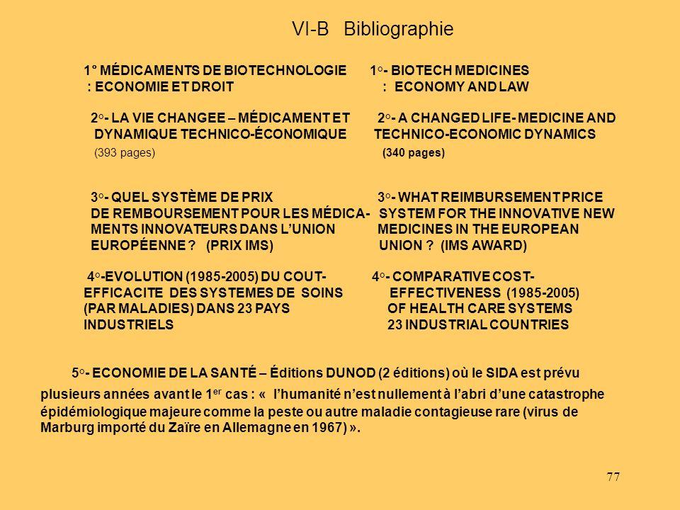 77 VI-B Bibliographie 1° MÉDICAMENTS DE BIOTECHNOLOGIE 1°- BIOTECH MEDICINES : ECONOMIE ET DROIT : ECONOMY AND LAW 2°- LA VIE CHANGEE – MÉDICAMENT ET