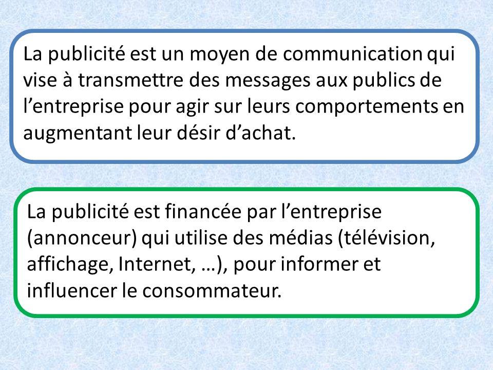 La publicité est un moyen de communication qui vise à transmettre des messages aux publics de lentreprise pour agir sur leurs comportements en augment
