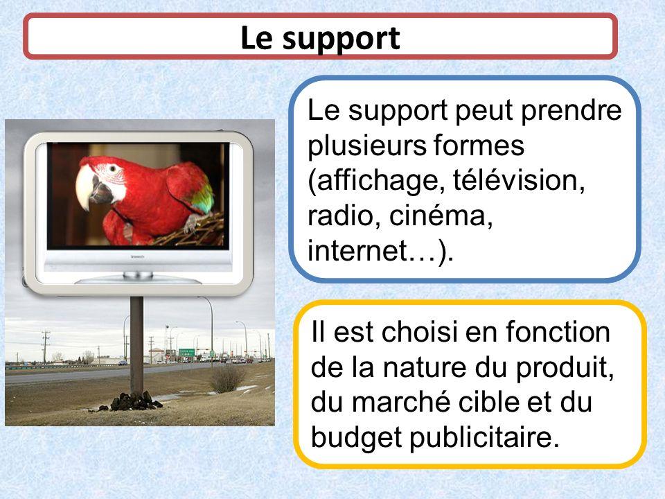 Le support Le support peut prendre plusieurs formes (affichage, télévision, radio, cinéma, internet…). Il est choisi en fonction de la nature du produ